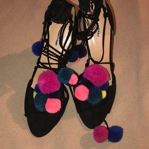 Pom pom suede sandals